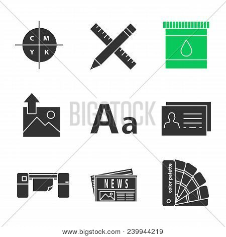 Printing glyph icons vector photo free trial bigstock cmyk color model pencil and ruler cartridge ink font business card large format printer newspaper color palettes silhouette symbols vector isolated reheart Images
