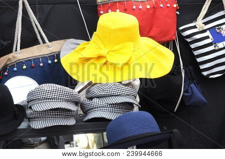 Male And Female Hats On Display In The Village Of Iseo Fon The Occasion Of A Festival - Brescia - It