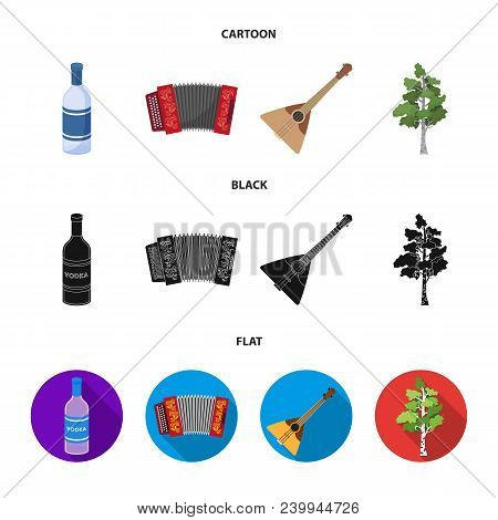 Russia, Country, Vodka, Accordion .russia Country Set Collection Icons In Cartoon, Black, Flat Style
