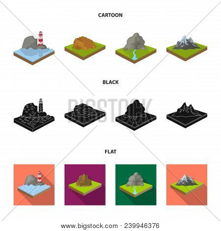 Mountains, Rocks And Landscape. Relief And Mountains Set Collection Icons In Cartoon, Black, Flat St