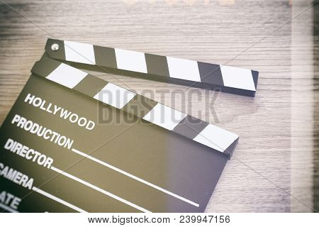 Clapper Board,movie Clapper On Wooden Backgrond