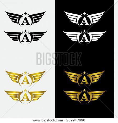 A, Wings Logo Collection - Golden Auto Wings Logo Template. A, Golden Wing Logo Company, Emblem Wing