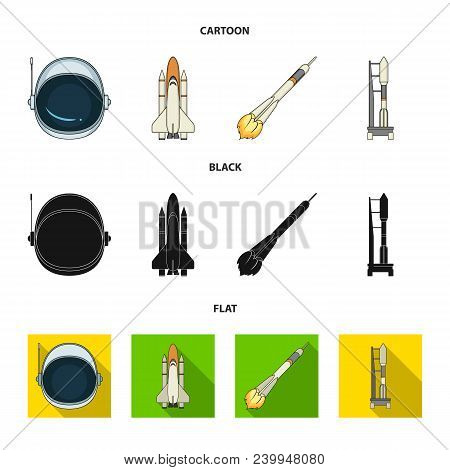 A Spaceship In Space, A Cargo Shuttle, A Launch Pad, An Astronaut Helmet. Space Technology Set Colle