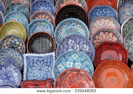 Maghreb Ceramics On Display And On Sale In The Iseo Country Fair In The Province Of Brescia - Lombar