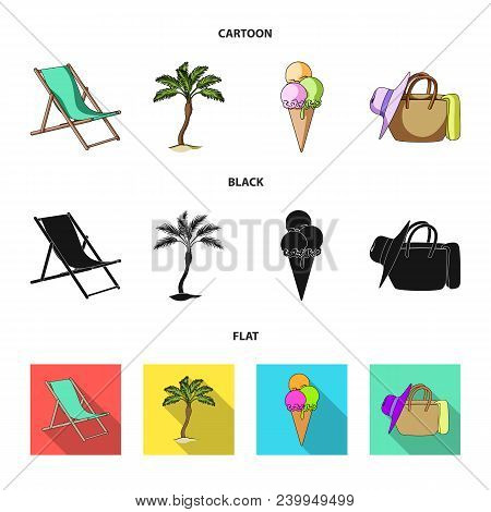 Beach, Palm Tree, Ice Cream.summer Vacation Set Collection Icons In Cartoon, Black, Flat Style Vecto