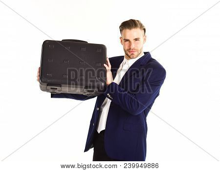 Man In Suit Or Businessman With Concentrated Face Holds Briefcase, Isolated On White Background. Man