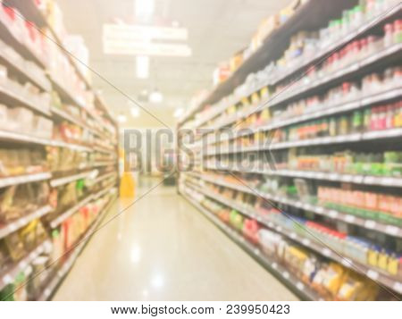 Blurred Variety Of Spies, Chinese Herbs And Vegetable At Asian Super Market