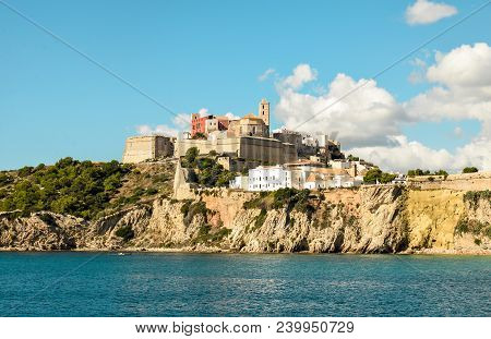 Beautiful View Of Boat Port And Old Town Of Ibiza City And Formentera Islands, Spain. Sea Rest And H