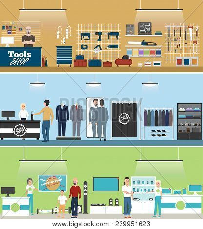 Tools Shop, Electronics Store And Men Clothing Shop Banner Set With People Shopping And Buying Produ