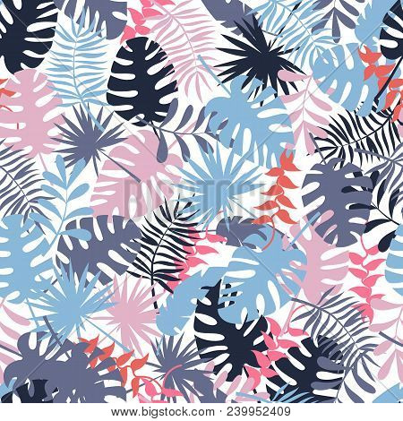 Seamless Tropical Pattern With Palm Leaves. Colorful Fabric Background. Stock Vector