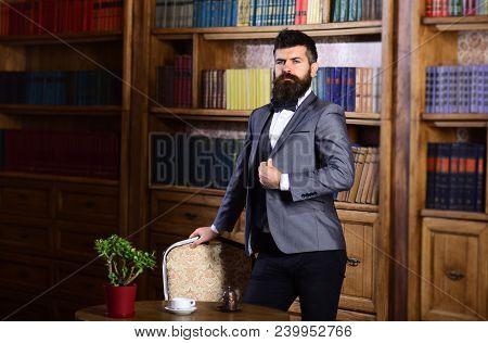 Aristocrat And Wealth Concept. Aristocrat Standing In Luxury Interior.