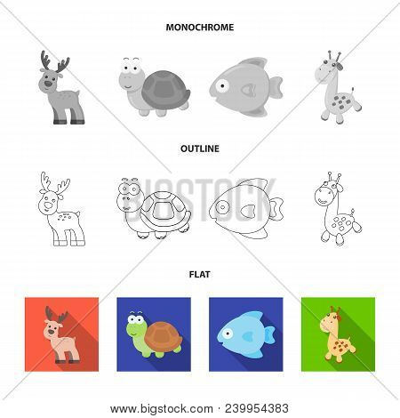 An Unrealistic Flat, Outline, Monochrome Animal Icons In Set Collection For Design. Toy Animals Vect