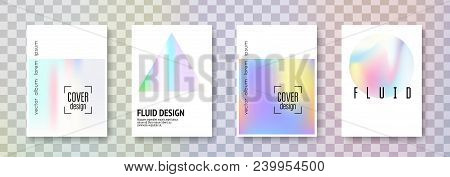 Holographic Fluid Set. Abstract Backgrounds. Hipster Holographic Fluid With Gradient Mesh. 90s, 80s