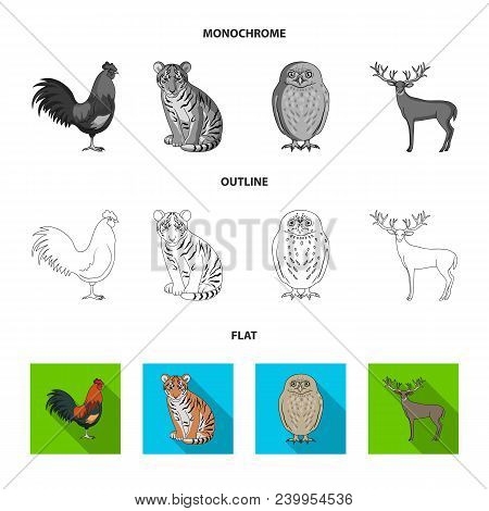 Puppy, Rodent, Rabbit And Other Animal Species.animals Set Collection Icons In Flat, Outline, Monoch
