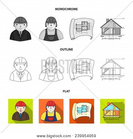 Drawing Accessories, Metropolis, House Model. Architecture Set Collection Icons In Flat, Outline, Mo