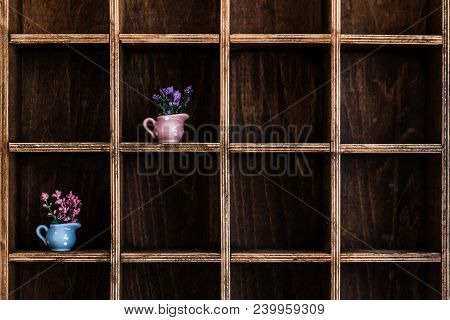 Colorful Flowers On Handmade Wooden Rustic Wall Shelf
