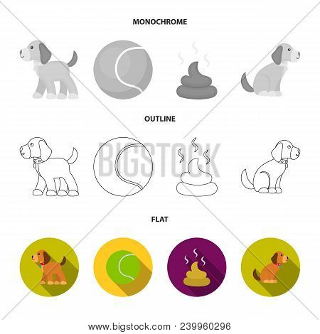 Dog Sitting, Dog Standing, Tennis Ball, Feces. Dog Set Collection Icons In Flat, Outline, Monochrome