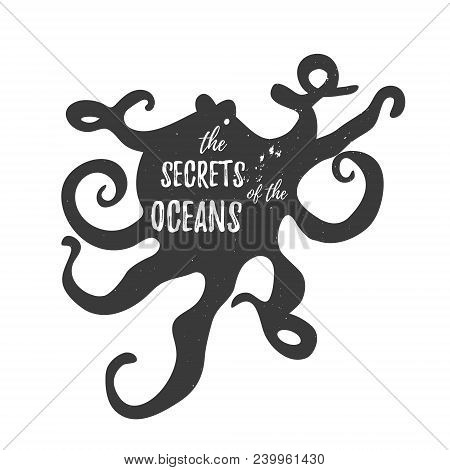Calamary Vintage Logo Template With Text The Secrets Of The Oceans