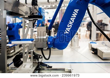Hannover, Germany - April, 2018: Yaskawa Moto Mini Robot Arm On Messe Fair In Hannover, Germany