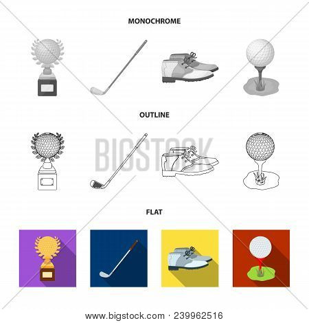 Cup, Golf Club, Ball On The Stand, Golfer Shoes.golf Club Set Collection Icons In Flat, Outline, Mon