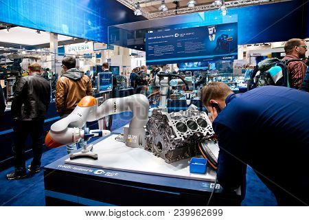 Hannover, Germany - April, 2018: Universal Robots Ur5 Equipped With Schunk Grippers On Messe Fair In