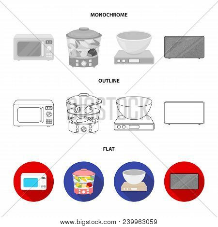 Electric Kettle, Music Center, Mixer, Toaster.household Set Collection Icons In Flat, Outline, Monoc