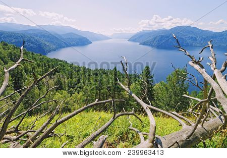 Russia, Siberia.view Of Lake Teletskoye From The Mountain Chichilgan. View Of The Main Southern Part