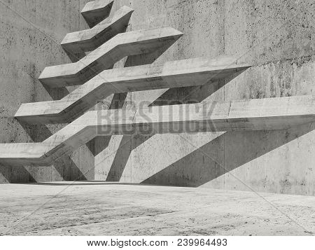 Abstract Concrete Interior Background With Beams Installation And Shadow Pattern, 3d Render Illustra