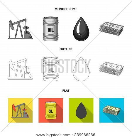 Railway Tank, Chemical Formula, Oil Price Chart, Pipeline Valve. Oil Set Collection Icons In Flat, O