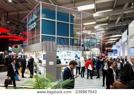 Hannover, Germany - April, 2018: Cisco Booth Stand On Messe Fair In Hannover, Germany