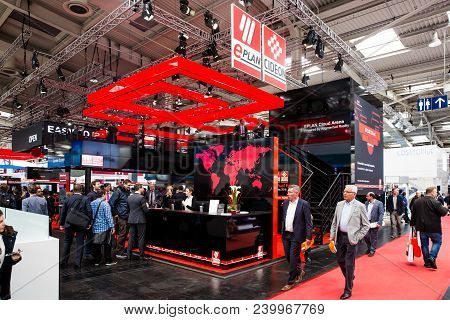 Hannover, Germany - April, 2018: Eplan Cideon Booth Stand On Messe Fair In Hannover, Germany