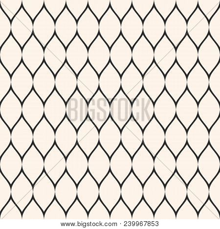 Net Pattern. Vector Seamless Texture With Thin Wavy Lines, Mesh, Fabric, Fishnet, Web, Lace, Grid. S