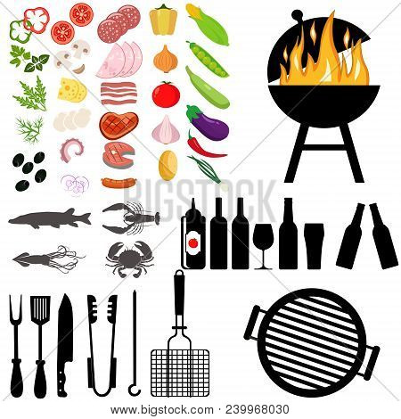 Bbq Grill, Meat Barbecue, Restaurant, Party, At Home Dinner. Vector Products Skewer Grilling Kitchen