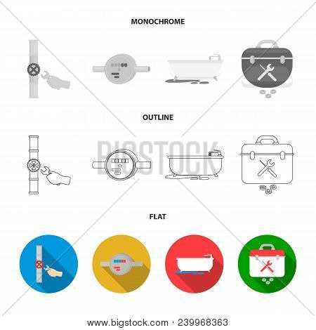 Water Meter, Bath And Other Equipment.plumbing Set Collection Icons In Flat, Outline, Monochrome Sty