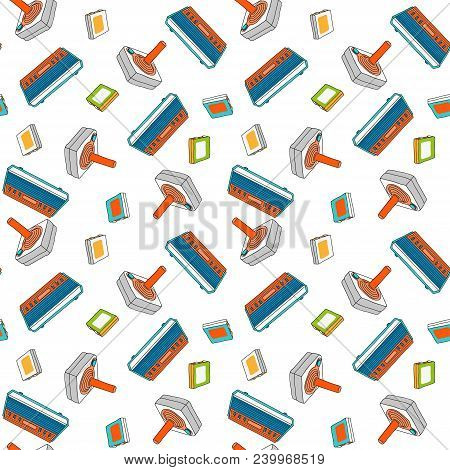 Videogame Seamless Pattern With Vintage Console. Joystick, Console And Games Composition. Vector Ill