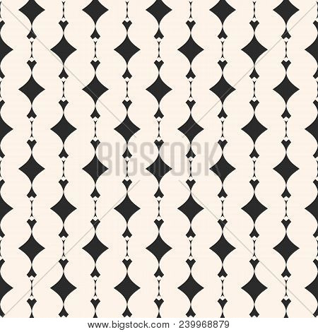 Ornamental Geometric Seamless Pattern. Abstract Monochrome Background With Curved Shapes, Rhombuses.