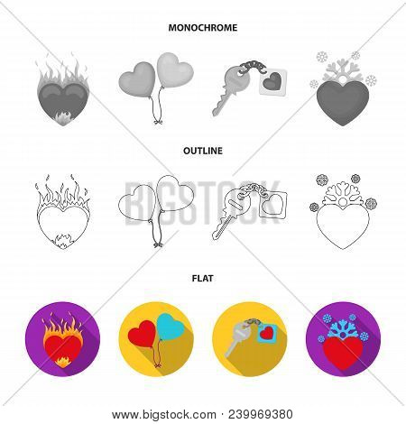 Hot Heart, Balloons, A Key With A Charm, A Cold Heart. Romantic Set Collection Icons In Flat, Outlin
