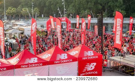 Malaga, Spain - April 27, 2018. Women Doing Fitness At New Balance Fit Night Out By Women Health In