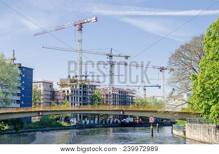 Berlin, Germany - April 22, 2018: Construction Boom In The Center Of Berlin. View Of New Modern Buil