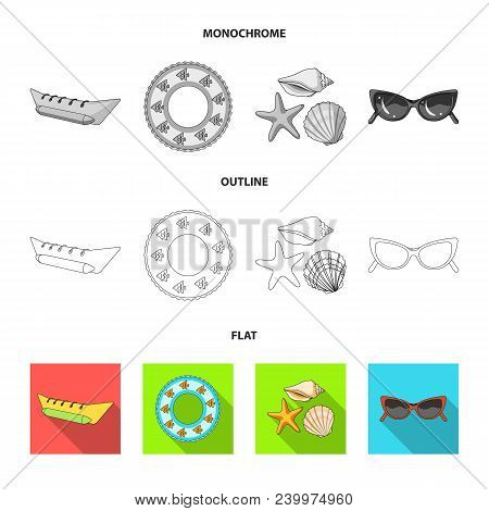 Water Attraction, Seashells, Goggles.summer Vacation Set Collection Icons In Flat, Outline, Monochro
