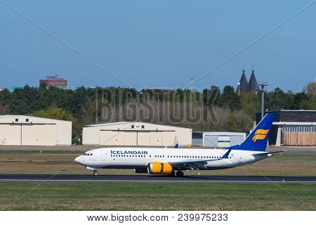 Berlin Germany - April 21. 2018: Icelandair Boeing 737 Max 8 At Berlin Tegel Airport