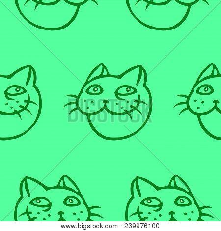 Cute Tomcat Head Pattern. Vector Illustration. Cheerful Pet Face. Animal Character.