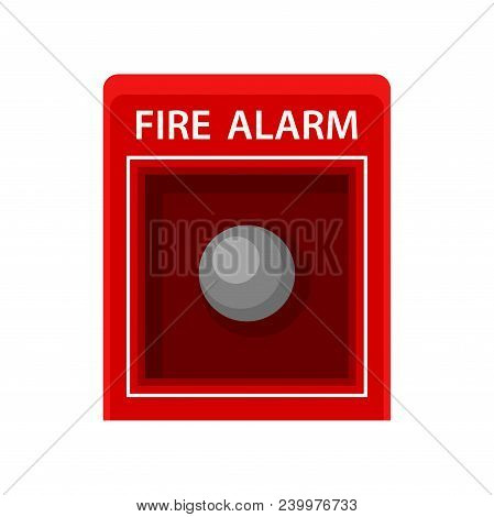 Fire Alarm. Red Metal Box With Button. Warning Signal About Fire. Item For Concept About Safety. Ico