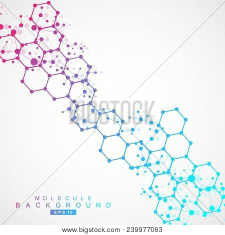 Structure Molecule And Communication. Dna, Atom, Neurons. Scientific Concept For Your Design. Connec