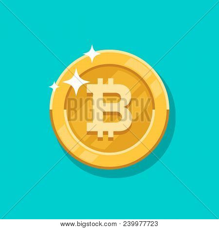 Vector Growth Bitcoin. On A Bitcoin Digital Money, Cryptocurrency System. Crypto Currency Golden Coi