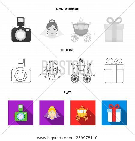 Bride, Photographing, Gift, Wedding Car. Wedding Set Collection Icons In Flat, Outline, Monochrome S