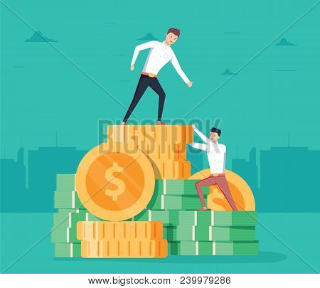 Pay Rise Business Vector Concept. Career Ladder Climbing, Salary Increase Symbol With Businessman Cl