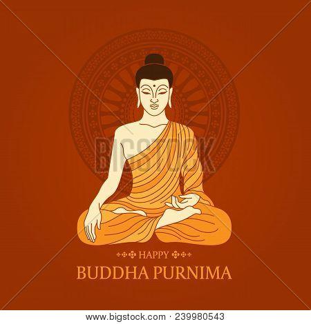 Buddha Purnima Day Banner With Buddha Meditating And Dharmachakra Or Wheel Of Dhamma Brown Backgroun