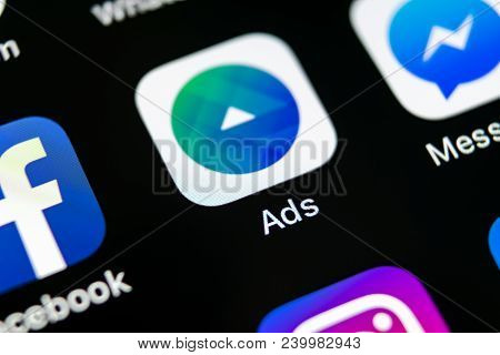 Sankt-petersburg, Russia, May 10, 2018: Facebook Ads Application Icon On Apple Iphone X Screen Close