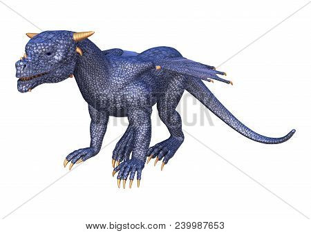 3D Rendering Fairy Tale Blue Dragon On White